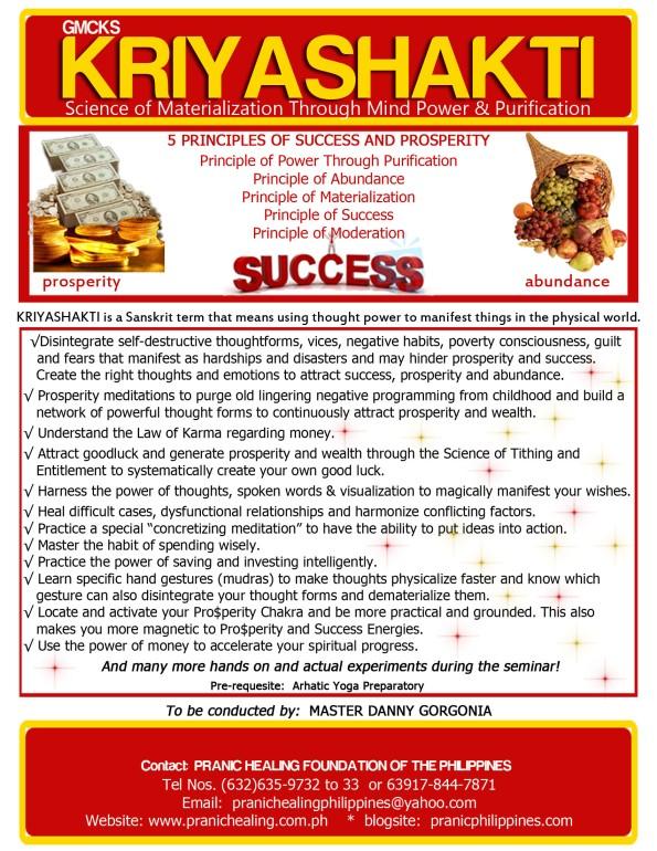 kriyashakti, prosperity, pranic healing, mcks, gmcks